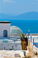 Preview iPhone wallpaper Tunisia, Africa, blue sea, mountains