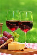 Preview iPhone wallpaper Two cups of red wine, grapes