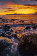 Vancouver, Third Beach, sea, stones, sunset, Canada