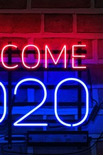 Preview iPhone wallpaper Welcome 2020, New Year, neon