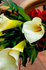 White calla lilies and red roses, bouquet