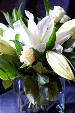 Preview iPhone wallpaper White lilies and roses, bouquet, vase