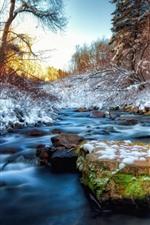 Winter, stones, snow, creek, trees