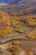 Preview iPhone wallpaper Wulan Butong Grassland, beautiful autumn, road, trees, mountains