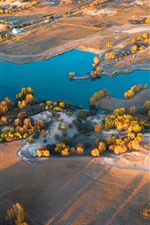 Preview iPhone wallpaper Wulan Butong Grassland, lake, trees, autumn, sunshine, morning