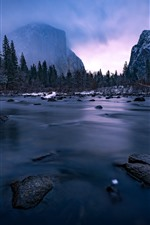 Preview iPhone wallpaper Yosemite National Park, river, mountains, snow, winter