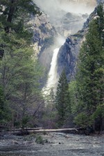 Preview iPhone wallpaper Yosemite National Park, trees, waterfall, USA