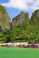 Beach, tropical, rocks, boats, sea