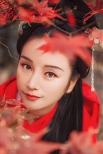 Preview iPhone wallpaper Beautiful girl look at you, retro style, red maple leaves
