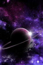Preview iPhone wallpaper Beautiful space, planets, purple star lights