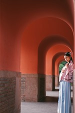 Preview iPhone wallpaper Beautiful young girl, retro style, arch, corridor