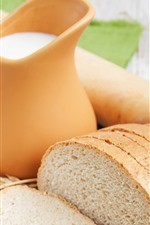 Preview iPhone wallpaper Bread slices, milk, eggs