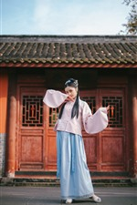Preview iPhone wallpaper Chinese girl, retro style, pose, house