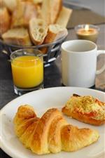 Preview iPhone wallpaper Croissant, orange juice, breakfast