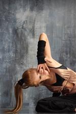 Preview iPhone wallpaper Dancing girl, pose, floor