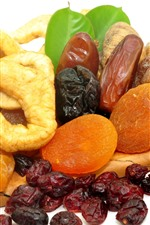 Dried fruits, white background