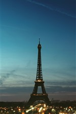 Preview iPhone wallpaper Eiffel Tower, Paris, night, lights, city, France