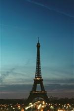 エッフェル塔、パリ、夜、ライト、都市、フランス