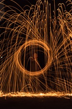 Preview iPhone wallpaper Fireworks, sparks, circle, night