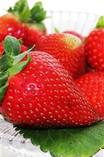 Preview iPhone wallpaper Fresh strawberries, delicious fruit, plate