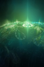Preview iPhone wallpaper Green light rays, planet, creative design