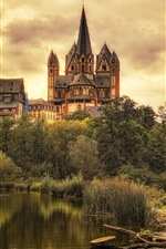 Limburg, castle, trees, clouds, Germany