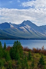 Mountains, lake, trees, clouds, nature landscape