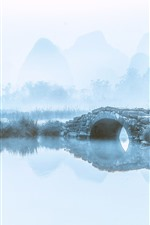 Preview iPhone wallpaper Mountains, river, bridge, birds, fog, morning