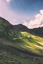 Montanhas, declive, luz do sol, nuvens, raios de sol