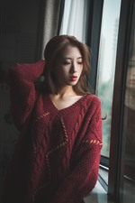 Preview iPhone wallpaper Pure girl stand at window side, red sweater