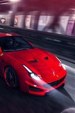 Preview iPhone wallpaper Red Ferrari supercar, speed, headlights