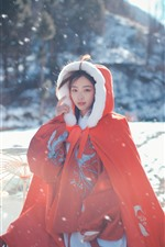 Preview iPhone wallpaper Red coat, girl, snow, winter