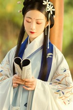 Preview iPhone wallpaper Retro style girl, long hair, book, hanfu