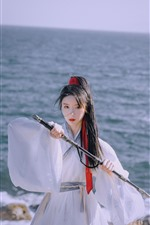 Preview iPhone wallpaper Retro style girl, warrior, sword