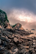 Rocks, stones, sea, clouds, sun, Xiangshan, Hualiu Island, China