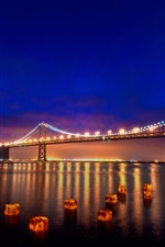 Preview iPhone wallpaper San Francisco, night, bridge, river, lights, USA