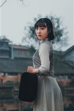 Preview iPhone wallpaper Short hair girl, retro style, suitcase