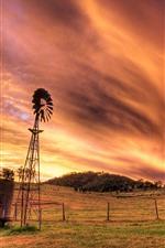 Sky, clouds, sunset, grass, windmill