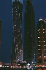 Skyscrapers, lights, night, city, river