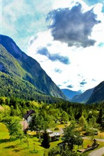 Preview iPhone wallpaper Slovenia, mountains, trees, green, sky, clouds, village
