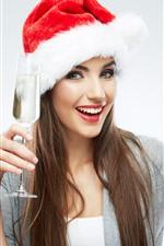 Vorschau des iPhone Hintergrundbilder Lächelnmädchen, Weihnachtshut, Glasschale, Champagner
