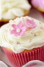 iPhone обои Некоторые кексы, цветы, сливки, еда