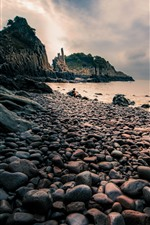 Preview iPhone wallpaper Stones, sea, dusk, Xiangshan, Hualiu Island, China