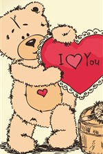 Preview iPhone wallpaper Teddy bear, I love you, love heart, gift, art picture