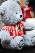Preview iPhone wallpaper Teddy bear, love hearts, hazy