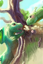 Preview iPhone wallpaper Two green dragons, tree, art picture