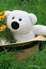 Preview iPhone wallpaper White teddy bear, hat, flowers, grass