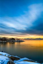 Winter, lake, snow, trees, dusk, sunset