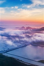 Preview iPhone wallpaper Xiajiang Hydro-junction, river, clouds, sunset, China