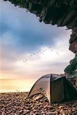 Preview iPhone wallpaper Xiangshan Hualiu Island, hole, sea, tent, birds, Zhejiang, China